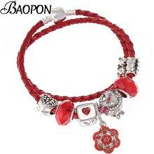be3aa9ae63d93c BAOPON Tibetano Argento Placcato Rosso In Pelle Pandora Braccialetti di  Cristallo Del Fiore della Rosa Del