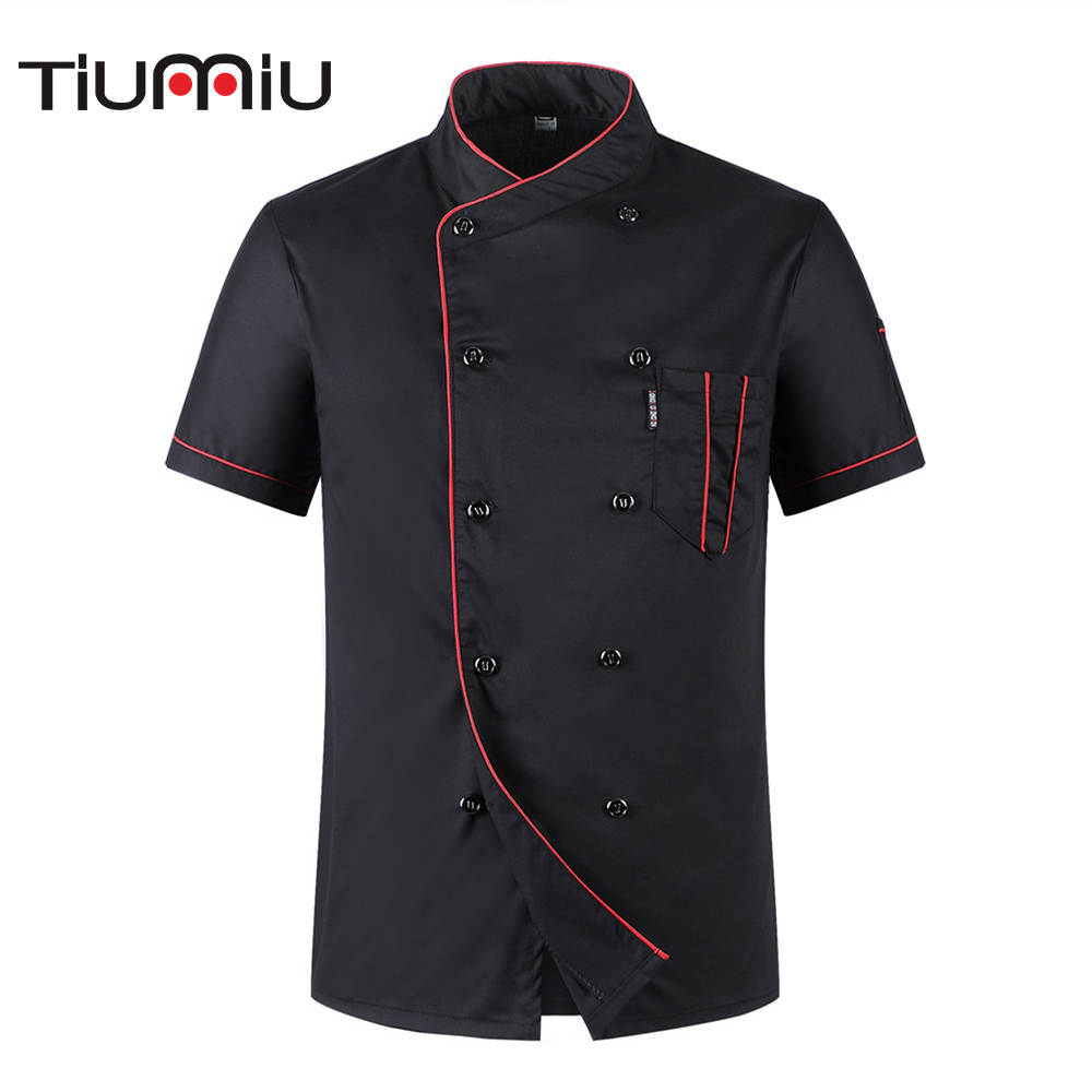 Wholesale Women Men's Short-sleeved Double Breasted Breathable Kitchen Workwear Chef Jackets Catering Restaurant Bakery Uniforms