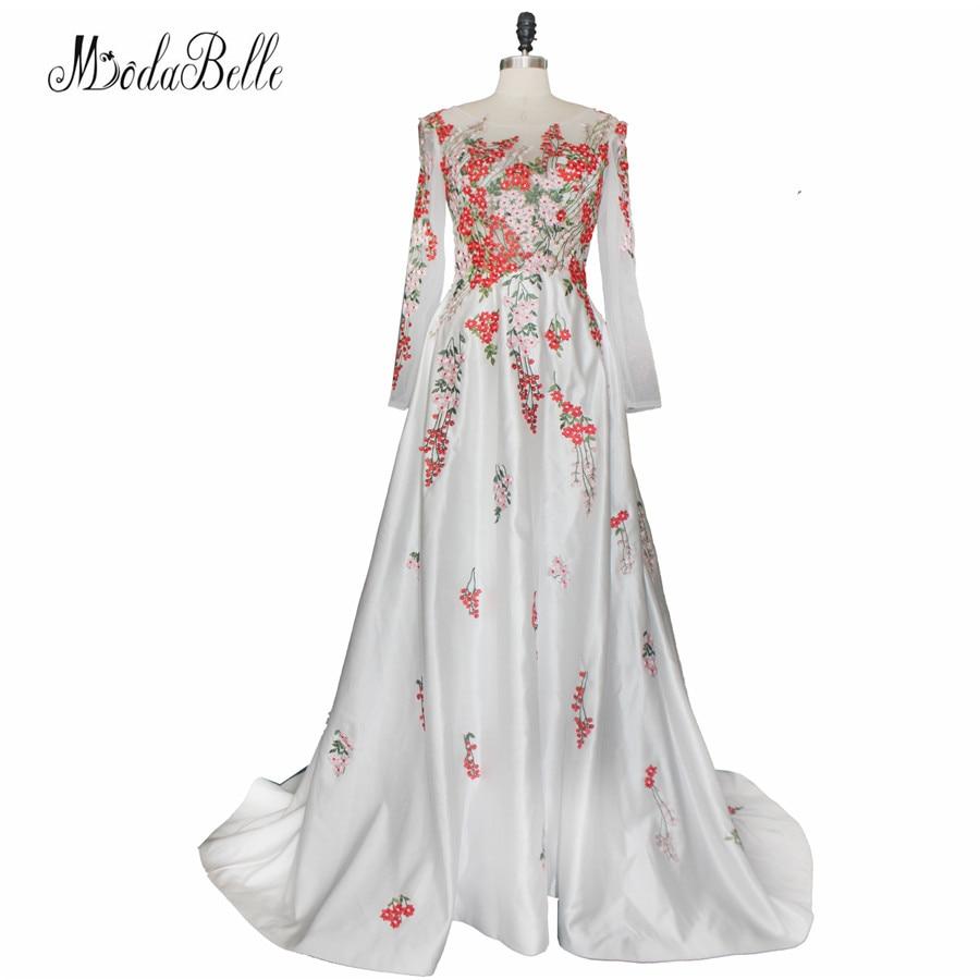 2017 Arabie Saoudite Fleurs Broderie Robe De Soirée À Manches Longues Une Ligne Designer Floral Robe De Soirée De Bal Abiye Gece Elbisesi
