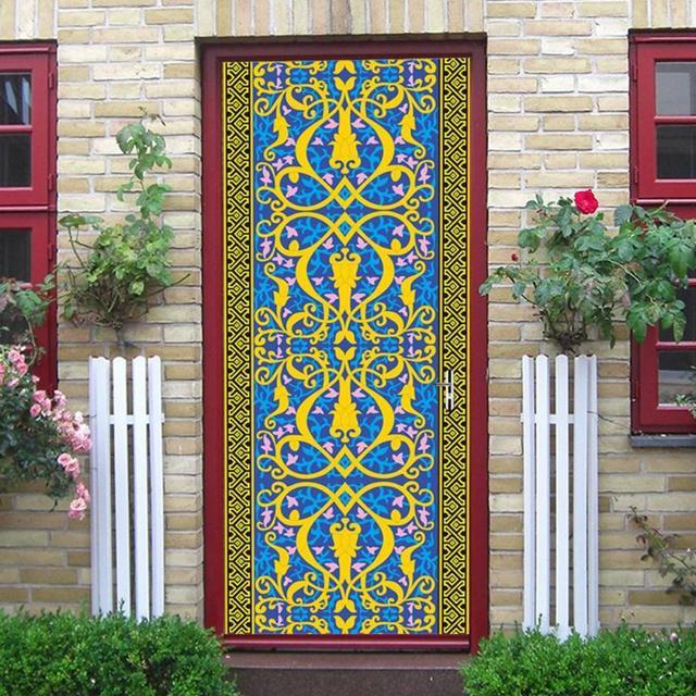 3D Muslim Door Wall Stickers Self Adhesive PVC Waterproof Wallpaper Poster  Wall Decals Home Decor Adhesive