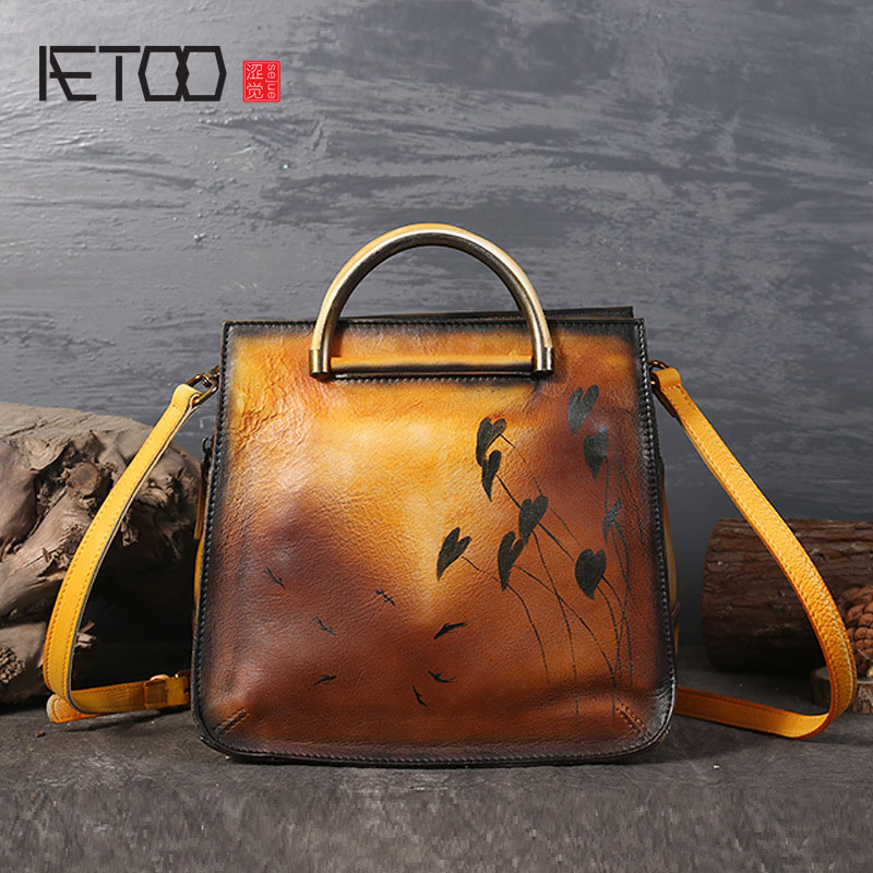 AETOO Ladies personality new first layer of leather shoulder diagonal package hand rub color leather handbags qiaobao 2018 new korean version of the first layer of women s leather packet messenger bag female shoulder diagonal cross bag