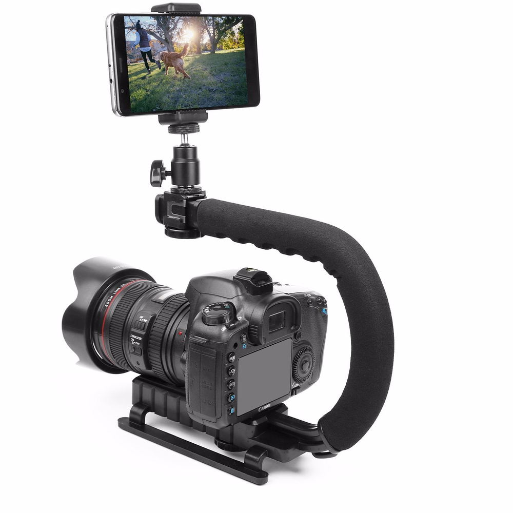 Image 2 - Pro Camera Stabilizer Triple Shoe Mount Video Holder Video Grip Flash Bracket Mount Adapter For Gopro Nikon DSLR SLR iPhone X 8-in Photo Studio Accessories from Consumer Electronics