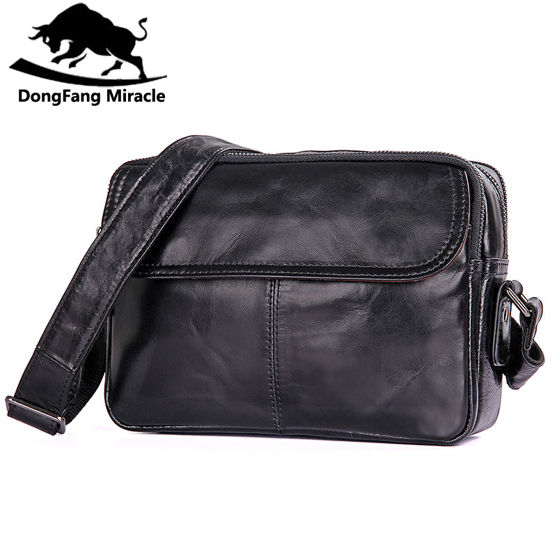 DongFang Miracle new men casual shoulder bag small genuine leather messenger bags simple Sling Bag For Man dongfang miracle high quality genuine leather men messenger bags casual shoulder bag male multifuntional small bag