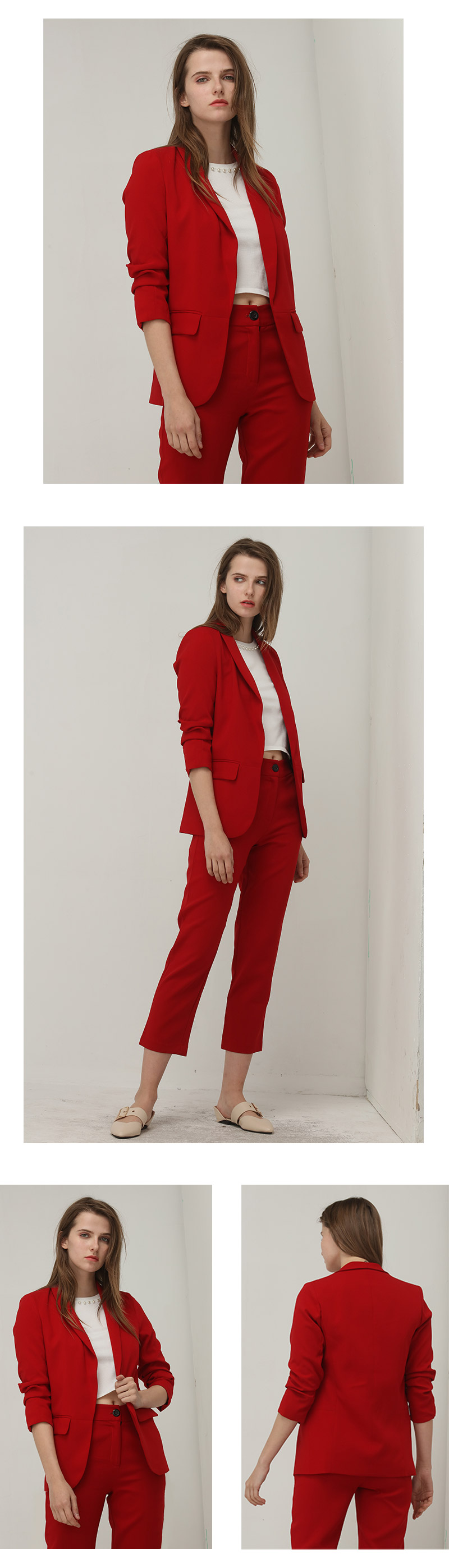 Elegant Red Puff Three Quarter Sleeve Blazer 1