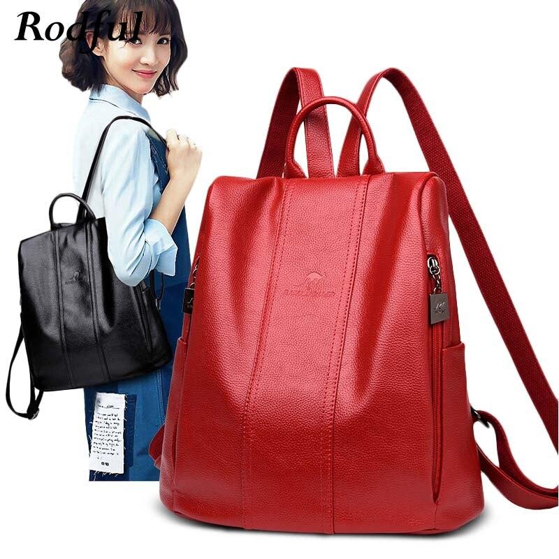 Designer Leather Backpack Women Anti Theft School Backpack Female Schoolbag Large Capacity Bagpack Bag Back Pack Women Sac A Dos