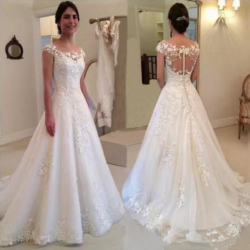 HT004 Cheap Short A Line Lace Wedding Dress Robe de mariage See Through Back Vestidos de
