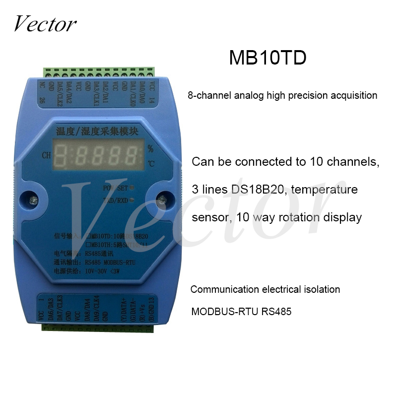 <font><b>DS18B20</b></font> 10-channel Multi-channel Temperature Acquisition Module RS485 <font><b>Modbus</b></font> RTU MB10TD image