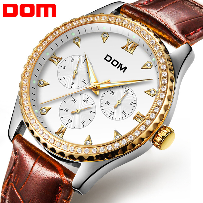 DOM Herresure Topmærke Luksus Vandtæt Guldkvarts Armbåndsur Dato - Mænds ure