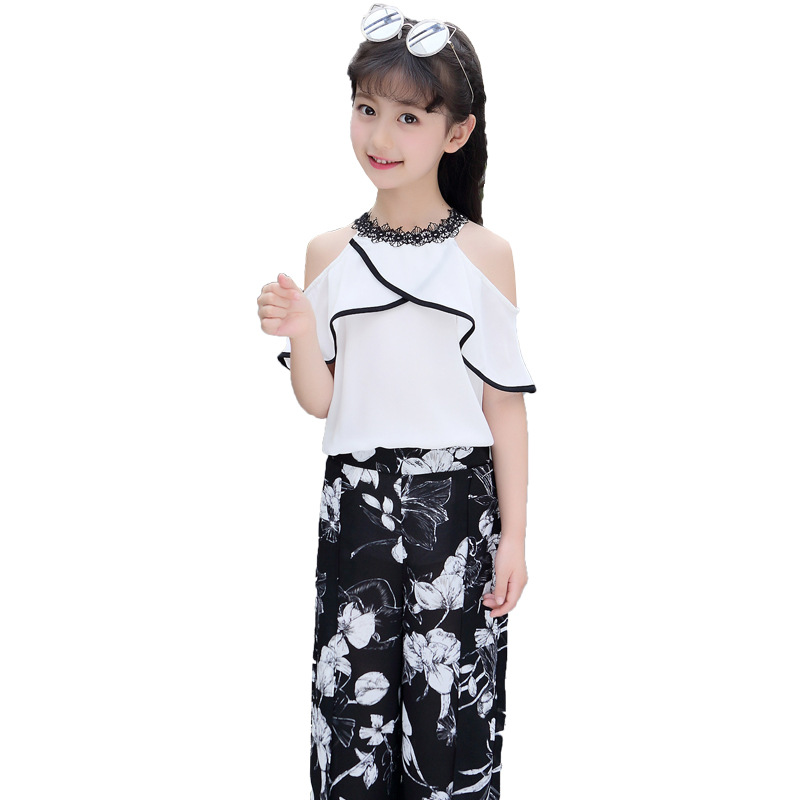823b0a932 US $16.33 40% OFF|Girls Sets Clothes Kids Fashion Tops Floral Pants Two  Piece Set Children Summer Suit Girls Outfits 7 8 9 10 11 12 13 14 Years-in  ...