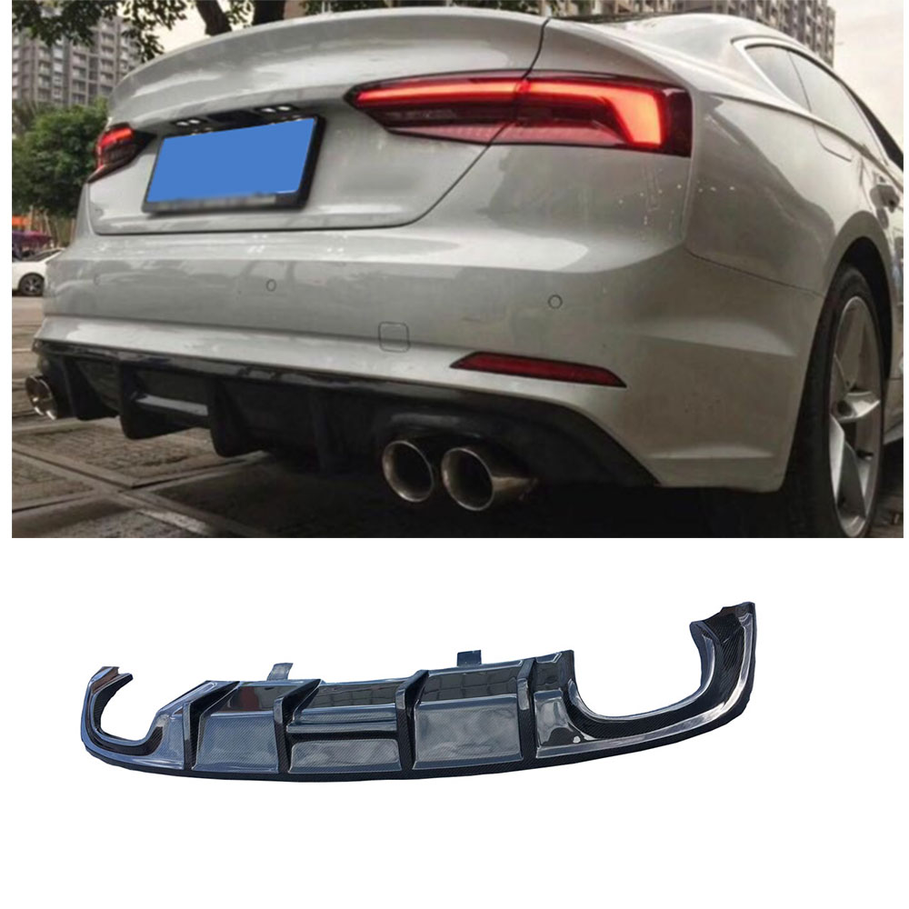 Carbon Fiber / FRP Unpainted Rear Lip Spoiler Diffuser for Audi A5 Sline S5 Sedan 4 door Not A5 Standard 2017 2018 Car Styling
