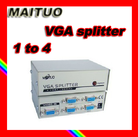MAITUO MT-1504 video VGA splitter 1-to-4 video distributor allotter fit for education/shopping mall free shipping