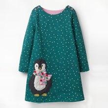 Littlemandy Girls Dress Penguins Long-Sleeve Dot Dresses 2019 Autumn Appliques Princess Brand Kids Baby Clothes Hot