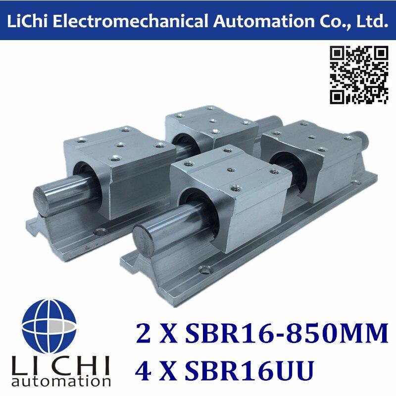 ФОТО 16mm linear rail 2pcs SBR16 -L 850mm supporter rails, 4pcs SBR16UU blocks for CNC linear shaft support rails and bearing blocks