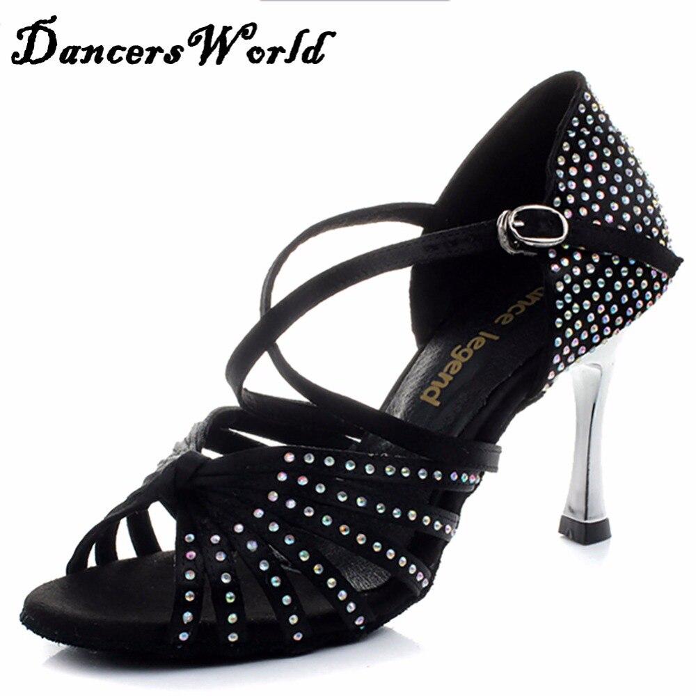 Black sandals rhinestones - Women S Latin Dance Shoes Satin Upper Rhinestones 3 45 Gold Heel Girls Zapatos De Baile Latino Black Tan Ballroom Shoe Sandals