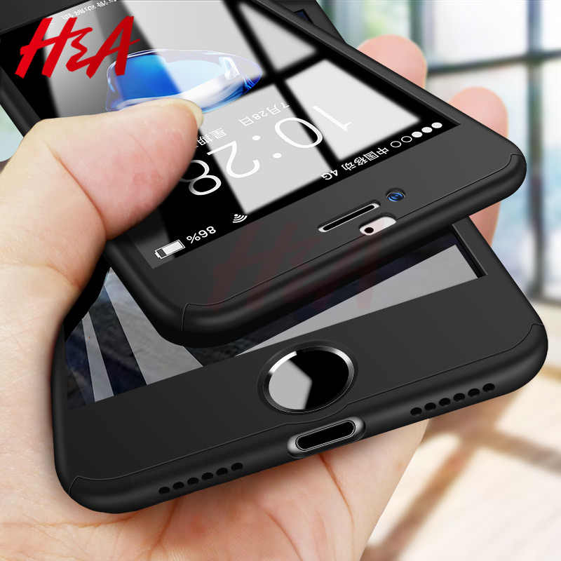 H&A Luxury 360 Full Cover Phone Case For iPhone 7 8 6 6s Plus 5 5s SE Protective Cover For iPhone X XR XS Max Case With Glass