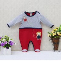 Little Q New Style Pure Cotton Newborn O Neck One Piece Romper Autumn And Spring Boys