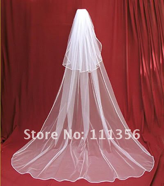 New 2T White Cathedral Length Wedding Veil Bride Ivory Bridal Veils With Comb Bridal Accessories mantilla