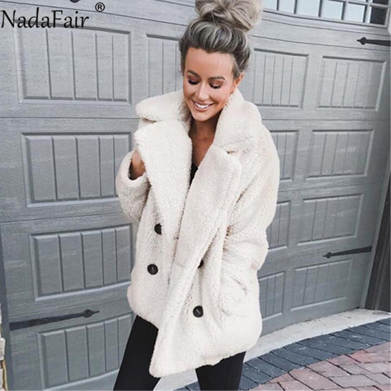 Nadafair plus size fleece faux fur jacket coat 2