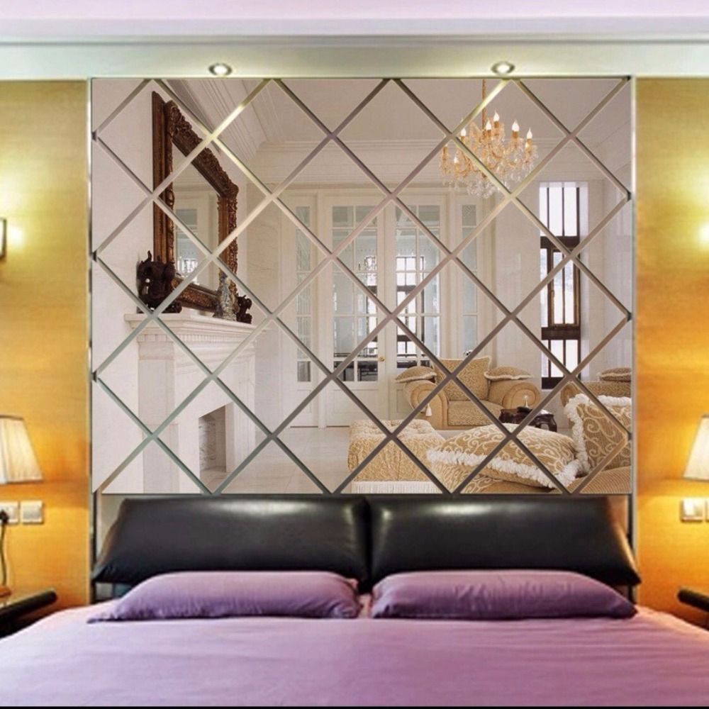Aliexpress Com Buy 3d Diamond Shaped Mirror Wallpaper
