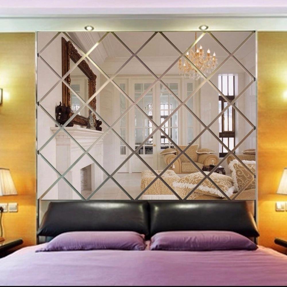 mirror living acrylic decorative diamond shaped sticker backdrop miroir espelho ceiling lustro restaurant mirrors paste romb peint papier grande decorativo