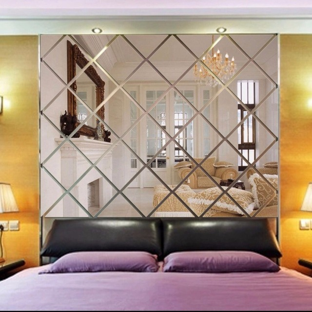 3d Diamond Shaped Mirror Wallpaper Paste Wall Acrylic Background