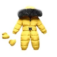 2018 Winter Warm Baby Rompers Jumpsuit Baby Onesie Children Duck Down Overalls Toddler Kids Boys Girls Fur Hooded Romper Clothes