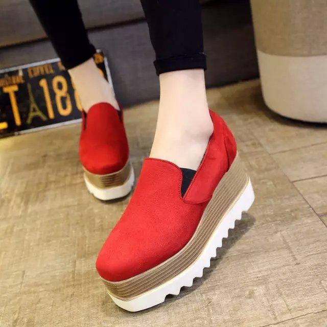 Spring 2016 new high-heeled platform loafers shoes heavy-bottomed shoes square head in the mouth wedges suede doug shoes