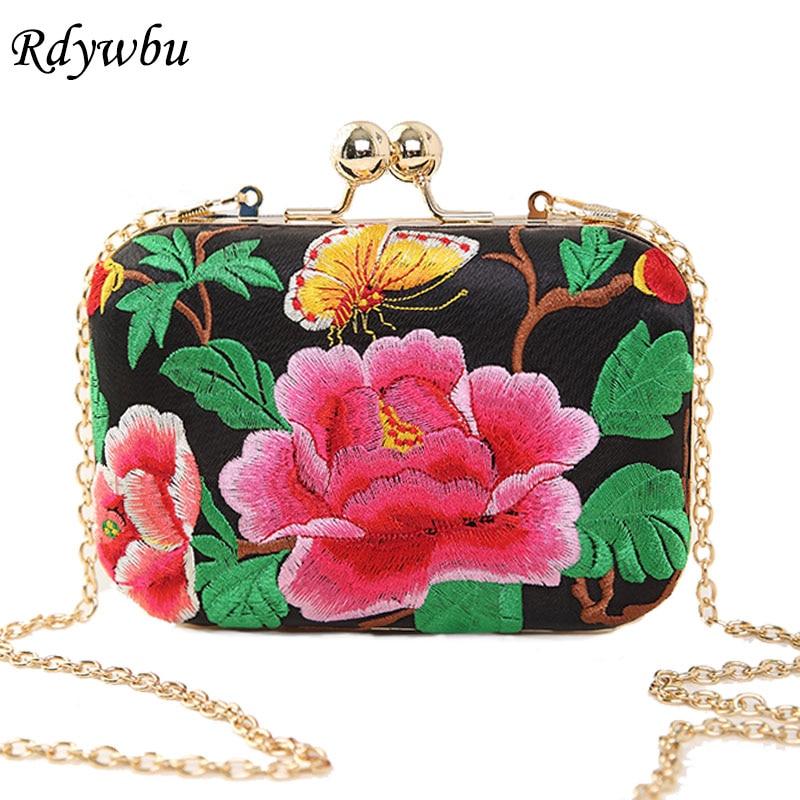 Rdywbu Clutches Minaudiere Embroidered Chain Shoulder-Bag Evening-Handbag Messenger Floral