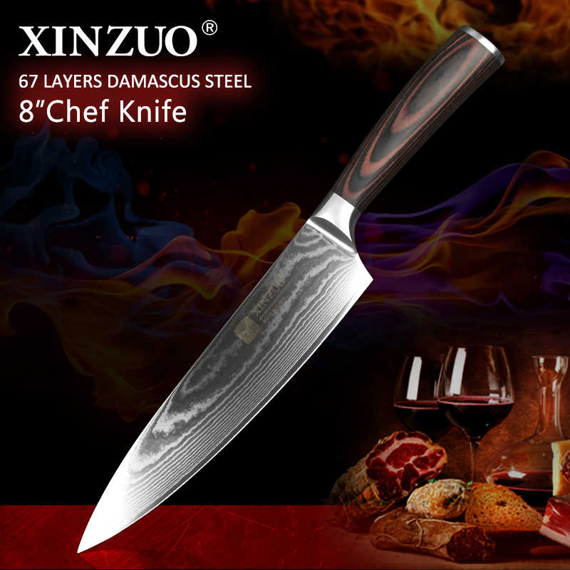 "XINZUO 8"" inch Butcher Chef Knife Japanese VG10 Damascus Steel Pakka Wood Handle 2018 New Pro Kitchen Knives Cleaver Meat Knife"