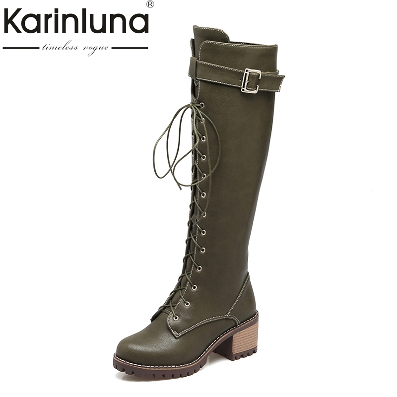 KARINLUNA 2018 plus sizes 34 43 platform boots add plush square heels fashion knee high boots