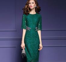 Newest High Grade Elegant Vintage Lace Knee Length Dress Women Diamond Dragonfly Half Sleeve Slim Party Sleeve