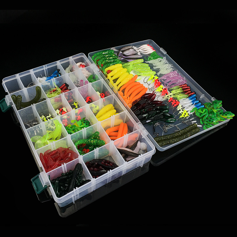 1Set Soft Fishing Lures Mixed Soft Baits Earthworm Maggot Frog Fishing Lure Lead jig head Hooks Kit Set Storage Box Pesca 316Pcs-in Fishing Lures from Sports & Entertainment    2