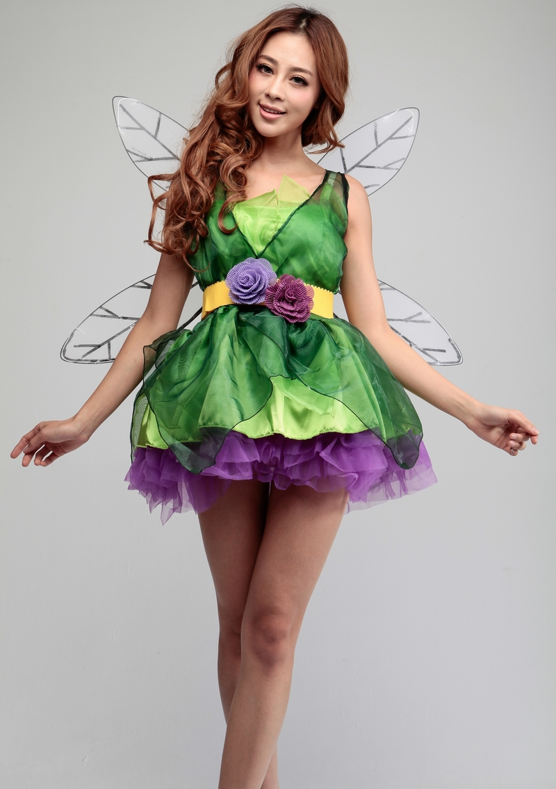 Halloween costumes for kids Elves tinker bell cosplay costume queen party dress anime clothes for girls with Wings tinker bell fairy kids girl halloween party costume dress wings set 2 8year c247