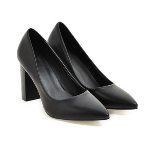 Image 3 - Hot Sale Brand New Glamour Beige Brown Women Dress Pumps Black Square Heels Lady Casual Shoes AC357 Plus Big Size 4 10 33 43