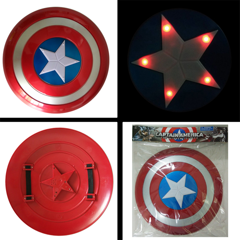 Kids Cocplay Captain America Shield 32cm in diameter child plastic toy light sound Weapon shield Light mask Halloween show