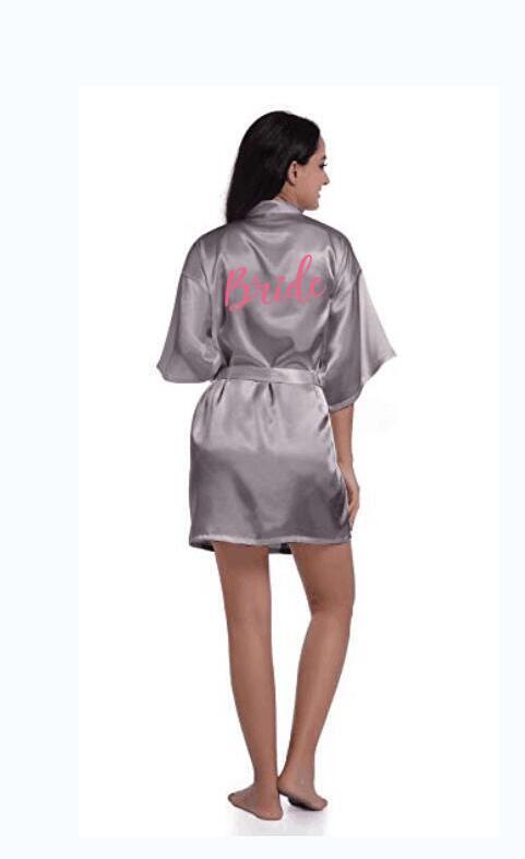 sexy grey silver robe kimono bridal pajamas wedding robe bridesmaid matron maid of honor sister mother of the bride robes