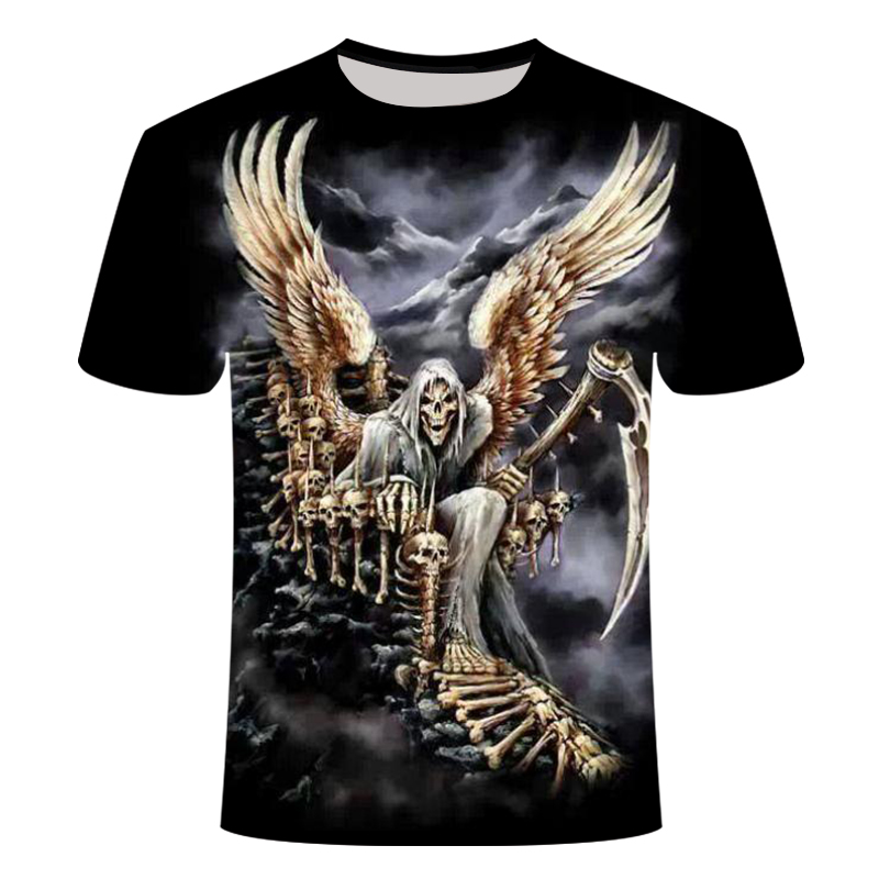 Fashion T Shirt Men/women Heavy Metal Grim Reaper Skull 3D Print T-shirts Short Sleeve Harajuku Style Tshirt Streetwear Tops