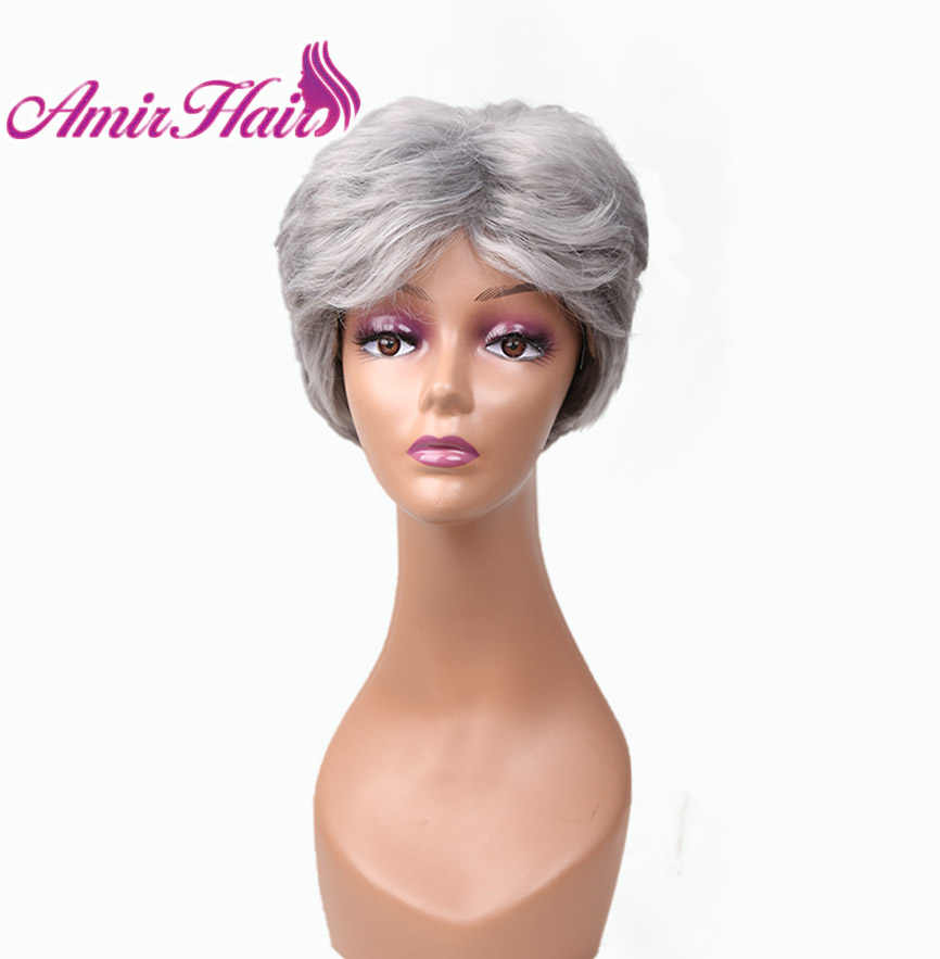 Amir short Synthetic wigs with free side bangs Layered Gray White Straight hair for black Women High Temperature Fiber fully wig