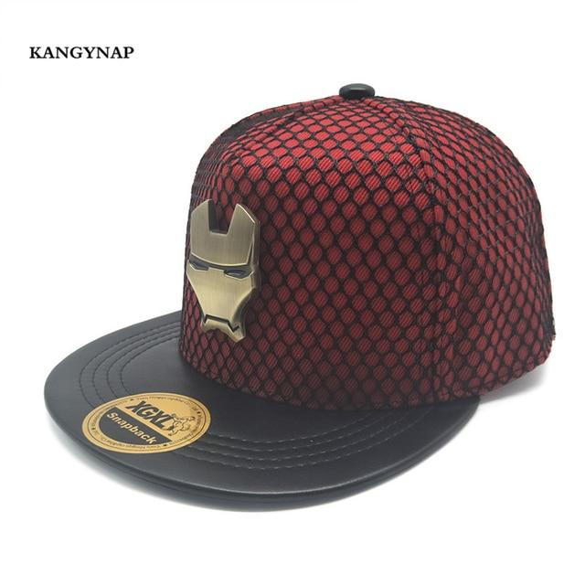 KAGYNAP 2018 New Fashion Logam Iron Man Hip Hop Topi Jaring Bernapas Pria  Olahraga Matahari Topi dac9083050