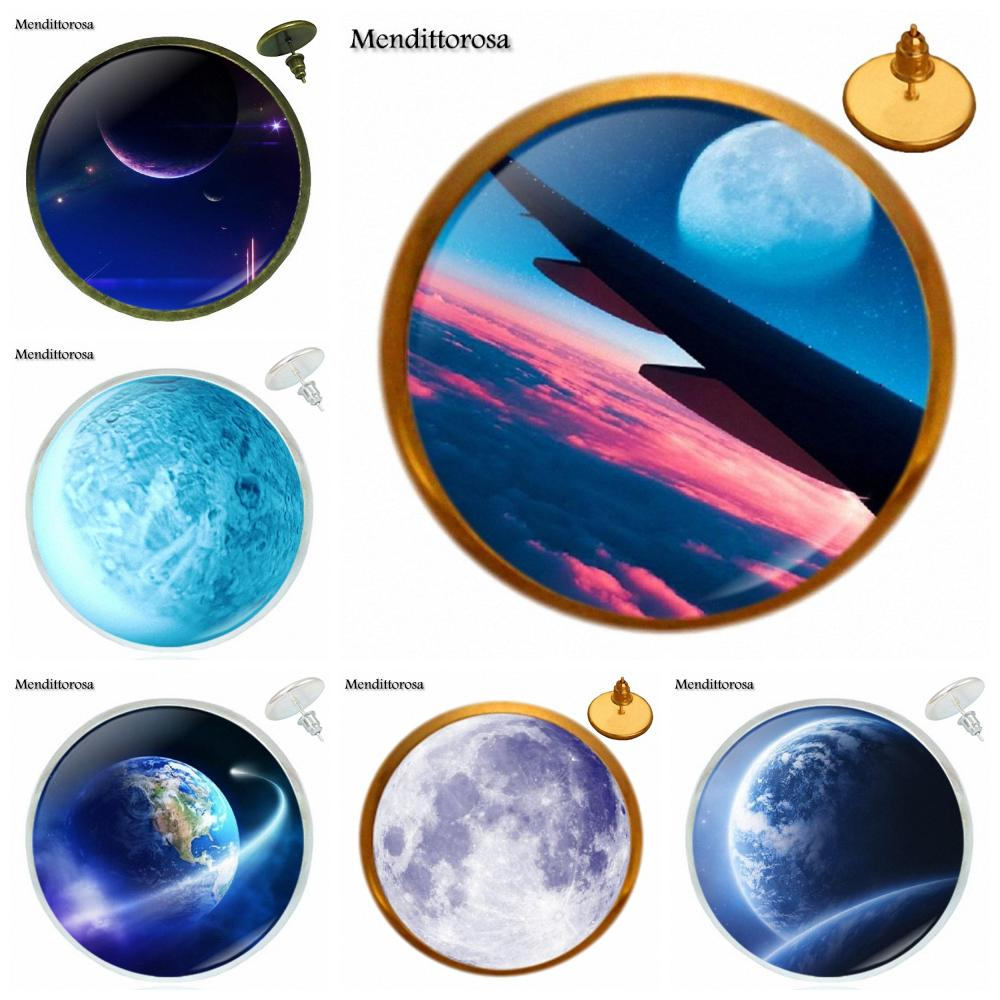Celestial Body Harajuku Style Jewelry Plated Glass Cabochon Bronze/Silver/Golden Clip Ear Hook Stud Earring For Women Party Gift