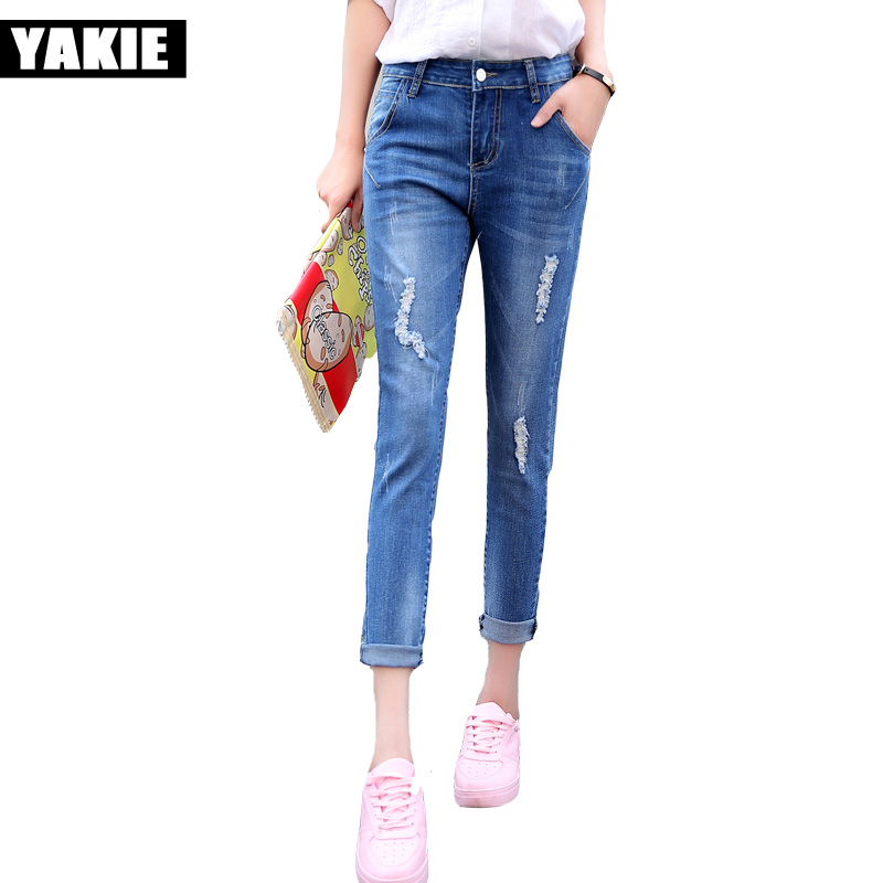 High waist jeans women soft hole ripped skinny slim stretch denim jeans for girl push up jeans ankle length Camisa Feminina fashion brand women jeans high waisted denim jeans ripped trousers washed vintage big hole ankle length skinny vaqueros mujer