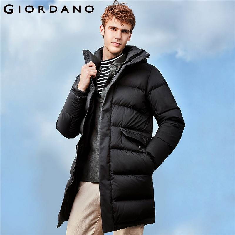 Giordano Men Winter Goose   Down   Jacket Men Wearable Grey Goose   Down   Detachable Hood Mid-long   Down   Jacket Pocket Warm   Down     Coat