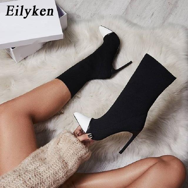 Eilyken 2019 nuevas botas de calcetín de tela elástica para mujer botas altas elásticas de punta estrecha con tacón alto botas de tobillo para mujer bombas Botas