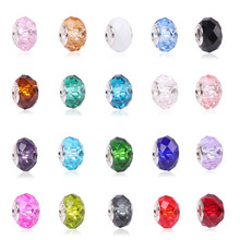 European 1pc New Blue&Red&Pink Crystal Facets Glass Water Bead Fit Pandora Charms Silver 925 Bracelet For Women Men Diy Jewelry