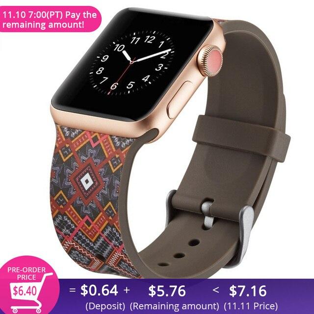 Новый бренд силиконовый спортивный ремешок красочный ремешок 38 44 мм для Apple Watch полосы 42 мм браслет iwatch серии 4 3 2 1 Ремешки для наручных часов