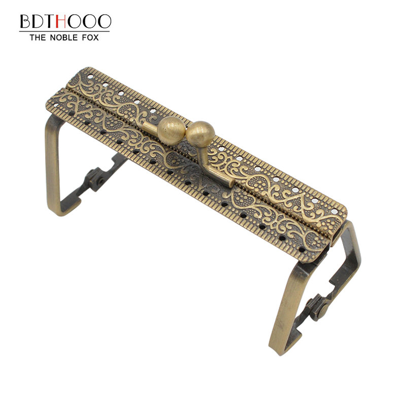 BDTHOOO 19cm Square Metal Frame Purse Handle DIY Clutch Bag Frame Handbag Making Kiss Clasp Lock Antique Bronze Bags Accessories