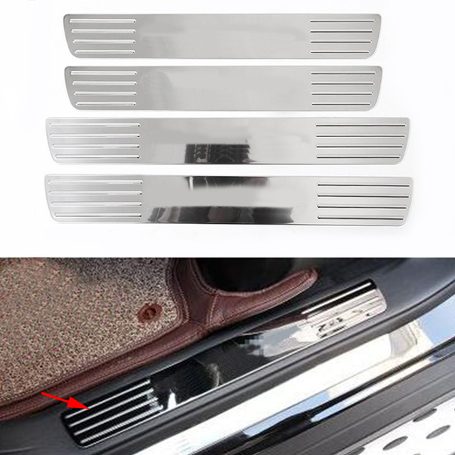 4x Chrome Stainless Steel Inner Scuff Plate Door Sill Trim For Mercedes Benz Gl Cl
