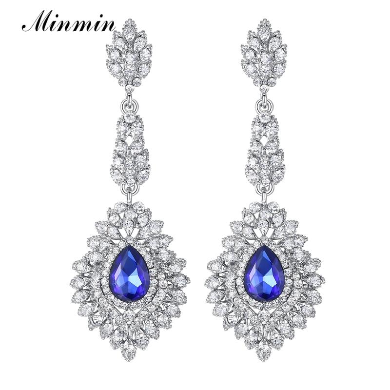 Minmin Mewah Teardrop Crystal Long Drop Earrings Perak Warna - Perhiasan fesyen - Foto 2
