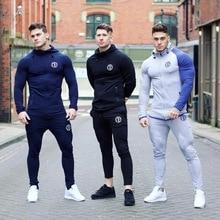 איש ריצה סטי גברים ספורט חליפות נים מכנסיים סטי סווטשירט מכנסי טרנינג ספורט חדר כושר כושר אימונית זכר רצים מקרית