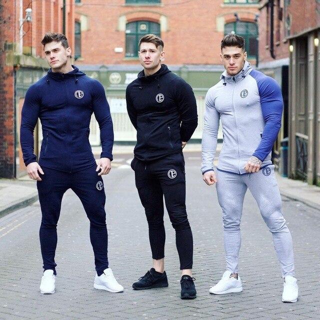 Man Running Sets Men Sport Suits Hoodies Pants Sets Sweatshirt Sweatpants Sportswear Gym Fitness Tracksuit Male Casual Joggers